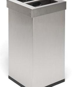 Afvalbak mat roestvrijstaal 2x52,5Ltr.