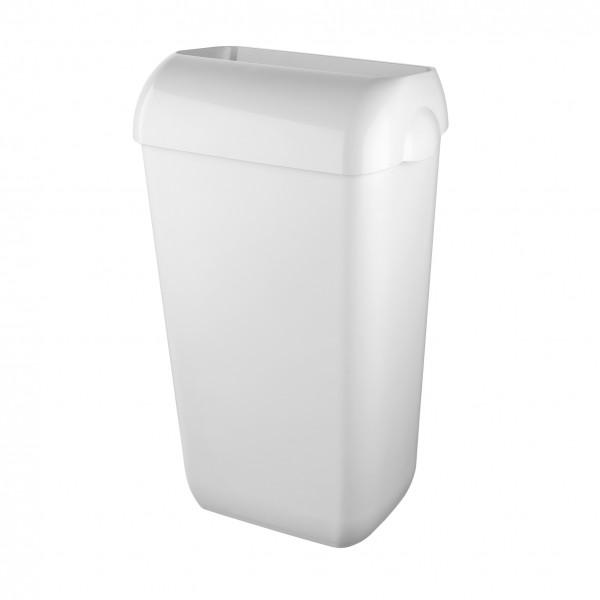 Afvalbak 23 liter, wit kunststof met open inworpklep incl. muurbevestigingset