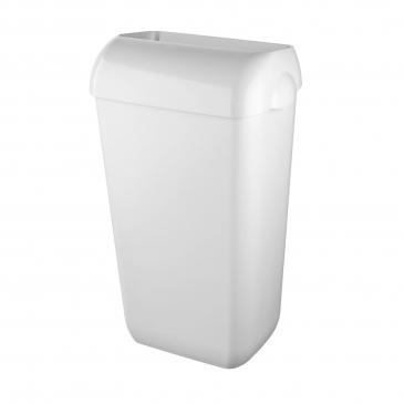 Afvalbak 43 liter, wit kunststof met open inworpklep incl. muurbevestigingset
