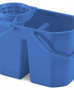 Dubbele mopemmer met korf, blauw, 15 ltr.