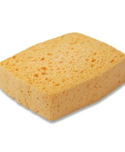 Viscose spons, groot, per stuk in folie verpakt, geel.