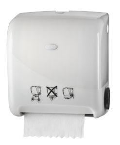 Handdoekautomaat, wit, met automatische papierdoorvoer.