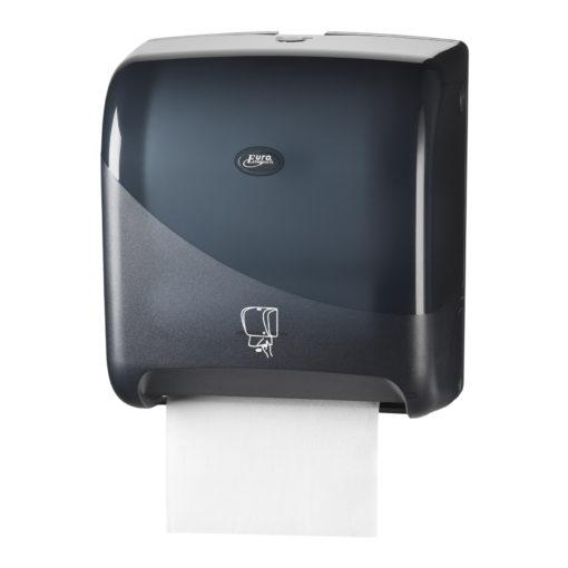 Handdoekautomaat, zwart, met automatische papierdoorvoer.