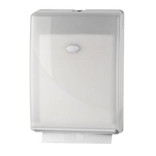 Handdoekdispenser, wit, Multifold en C-fold.