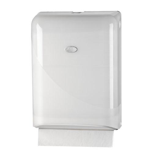 Handdoekdispenser, wit, interfold en Z-vouw.