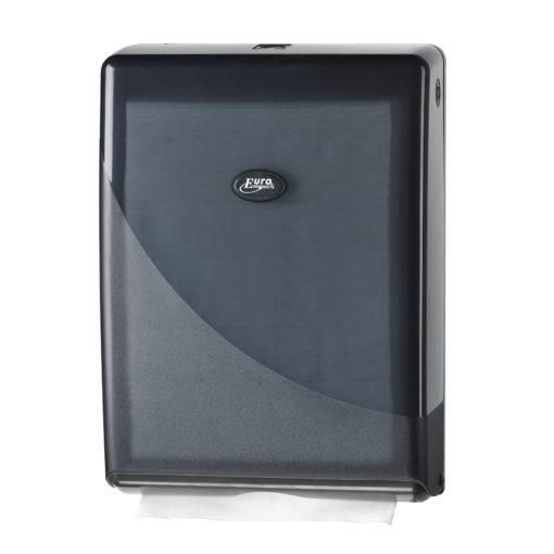 Handdoekdispenser, zwart, Multifold en C-fold.