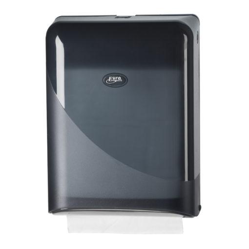 Handdoekdispenser, zwart, interfold en Z-vouw.