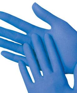 Handschoen latex gepoederd L blauw 100/ds