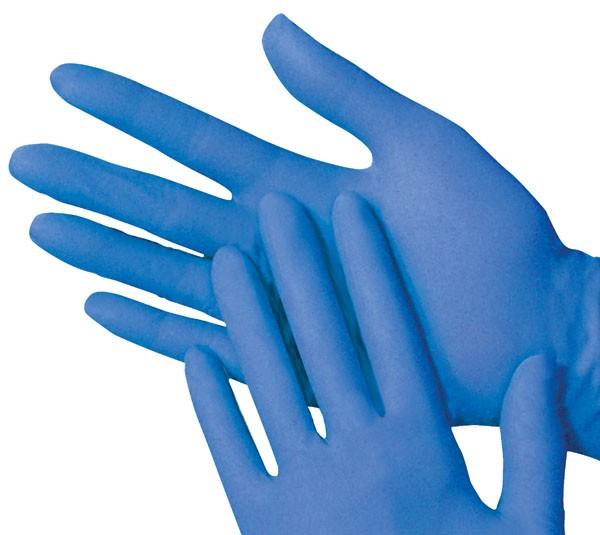 Handschoen latex gepoederd M blauw 100/ds