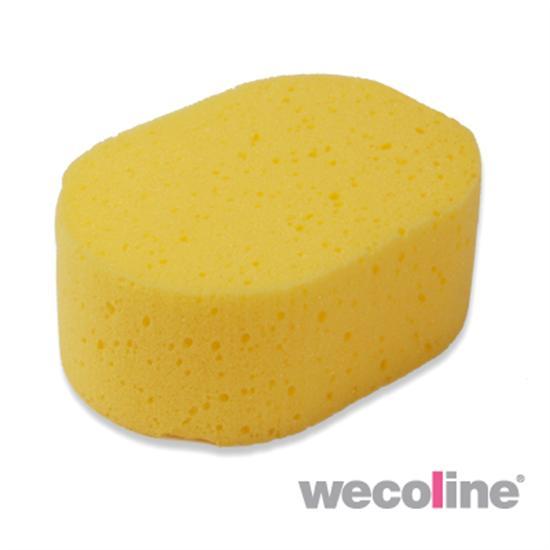Huishoudspons, ovaal, per stuk in folie verpakt, geel.