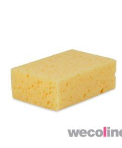 Huishoudspons, rechthoek, per stuk in folie verpakt, geel.