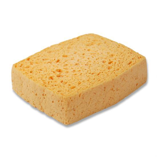 Viscose spons, medium, per stuk in folie verpakt,  geel.