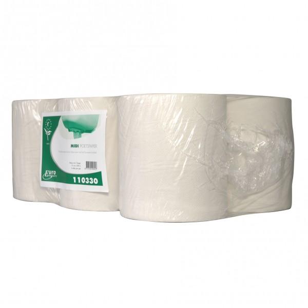 Poetspapier wit, 1 laags, 300mtrx20cm, 6 rol p/colli.
