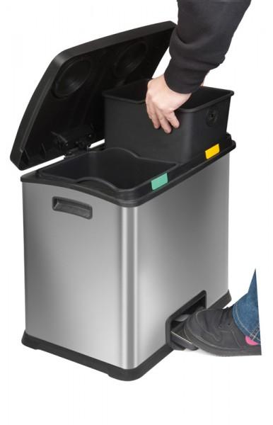 Rechthoekige afvalscheiding pedaalemmer, inh. 2x12ltr.