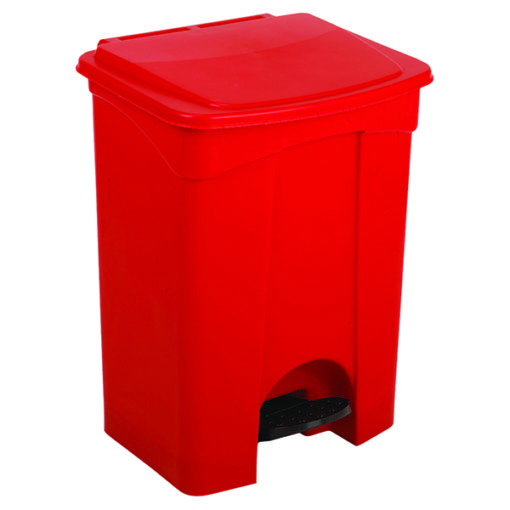 Rode afvalbak met pedaal 68ltr