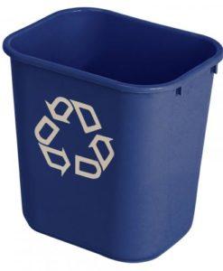 Rubbermaid rechthoekige, afvalbak, 27 ltr, blauw.