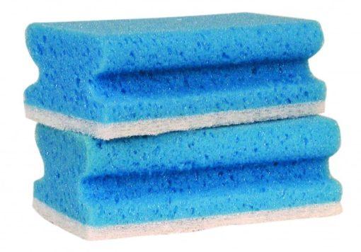 Schuurspons blauw/wit met grip, 7x14,5x4,3cm. 5 stuks.
