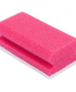 Schuurspons roze/wit met grip, 7x14,5x4,3cm. 5 stuks