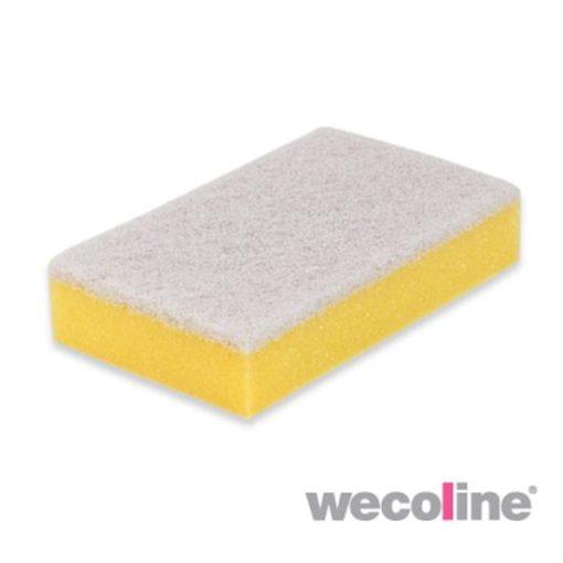 Schuurspons met wit vlies, geel.