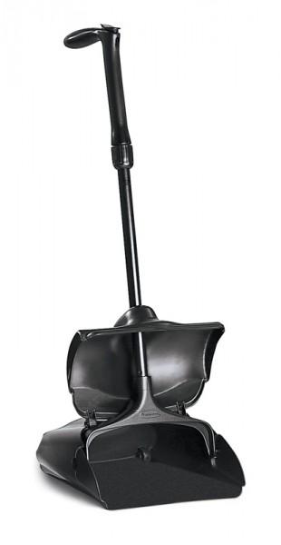 Stofblik Rubbermaid  met deksel zwart, inclusief bezem.
