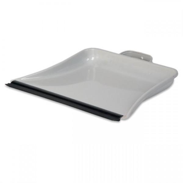 Stofblik metaal met rubber rand, grijs.