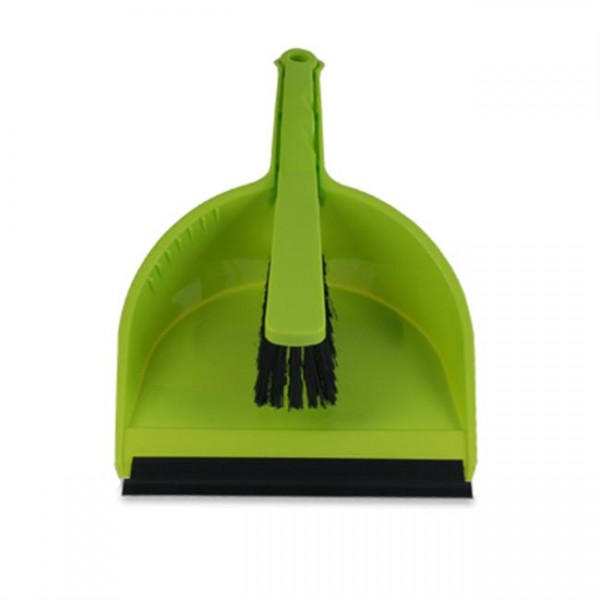 Stoffer en blik, met rubberen rand, kunststof,groen.