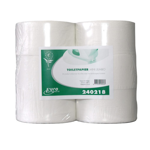 Toiletpapier mini Jumbo rolwit, 180m, 2-laags, 12rol/colli.