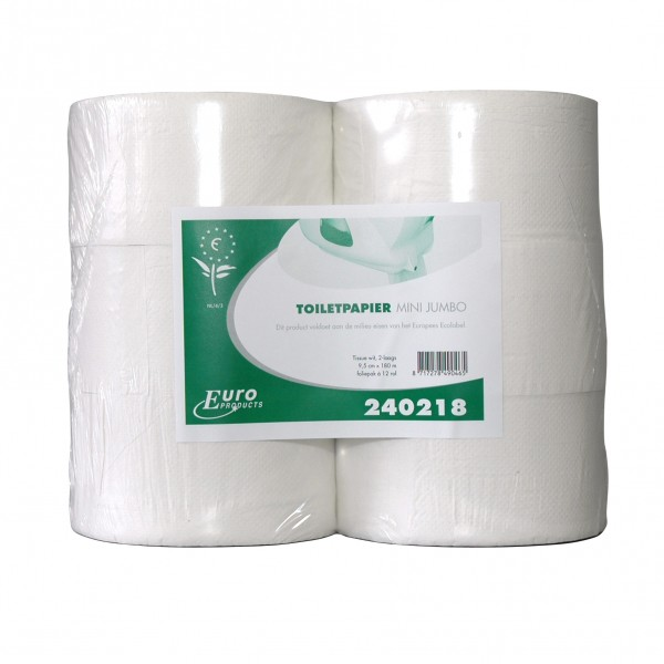 Toiletpapier mini Jumbo rolwit, 180m, 2-laags, 12rol/colli.