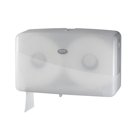 Toiletroldispenser voor de jumbo dubbel mini toiletrol, wit.