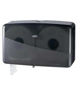 Toiletroldispenser voor de jumbo dubbel mini toiletrol, zwart.