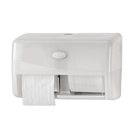 Toiletrolhouder, wit, dubbel voor standaard rollen.