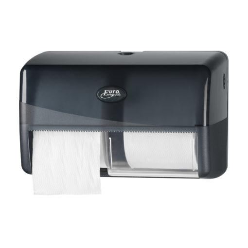 Toiletrolhouder zwart dubbel voor traditionele toilet rollen.