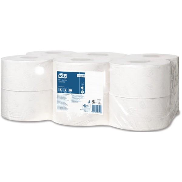 Tork Advanced Mini Jumbo Roll Toiletpapier (Tork T2 systeem) 2-laags, 170 mtr., 12p/colli.