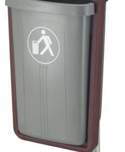 VB 520000 grijs/bord Afvalbak voor paal