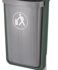 VB 520000 grijs/groen Afvalbak voor paal