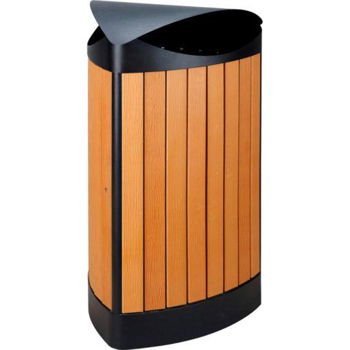 VB 667871 zwart/houtl buit afvalb 60ltr