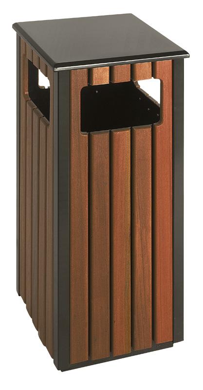VB 789494 zwart/houtlook Buitenafvalbak